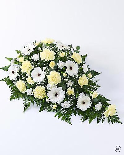 Carnation-and-Germini-Spray-1-Yellow-and-White-Funeral-Flowers-London
