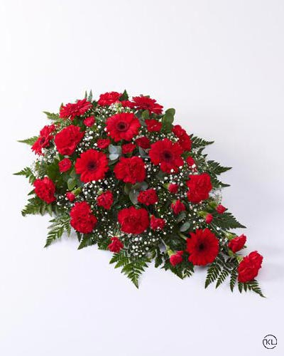 Carnation-and-Germini-Teardrop-Spray-Red-1-Funeral-Flowers-London