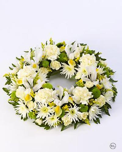Classic-Selection-Wreath-Yellow-and-Cream-1-Funeral-Flowers-London
