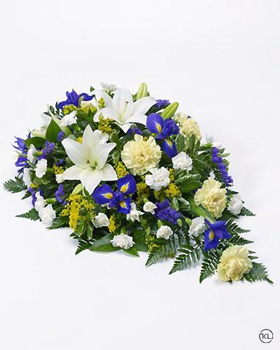 Lily-and-Iris-Teardrop-Spray-1-Funeral-Flowers-London