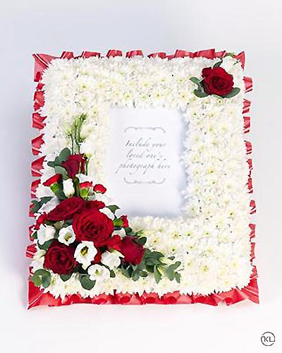 Photo Frame - White and Red - Funeral Flowers London