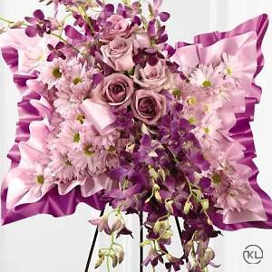 Pink And Purple Floral Pillow Funeral Flowers London