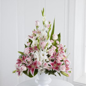 Pink Rose, Lily and Gladioli Service Arrangement 1 - Funeral Flowers London