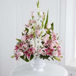 Pink Rose Lily and Gladioli Service Arrangement Funeral Flowers London