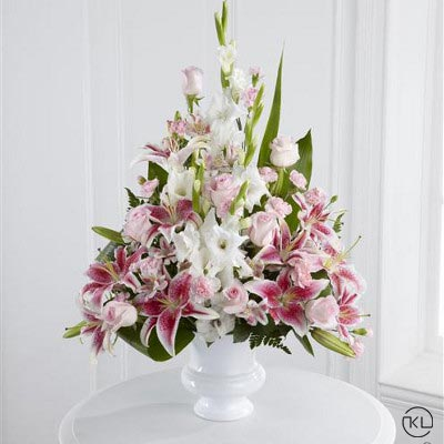 Pink-Rose-Lily-and-Gladioli-Service-Arrangement-1-Funeral-Flowers-London1