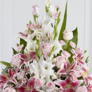 Pink Rose, Lily and Gladioli Service Arrangement 2 - Funeral Flowers London