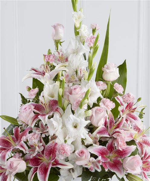 Pink Lily Rose And Gladioli Service Arrangement Funeral