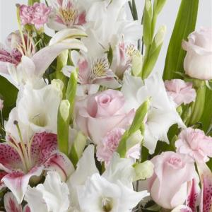 Pink Rose, Lily and Gladioli Service Arrangement 3 - Funeral Flowers London