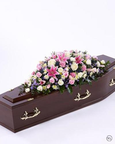 Pink1-Rose-and-Eryngium-Casket-Spray-3ft-1-Funeral-Flowers-London