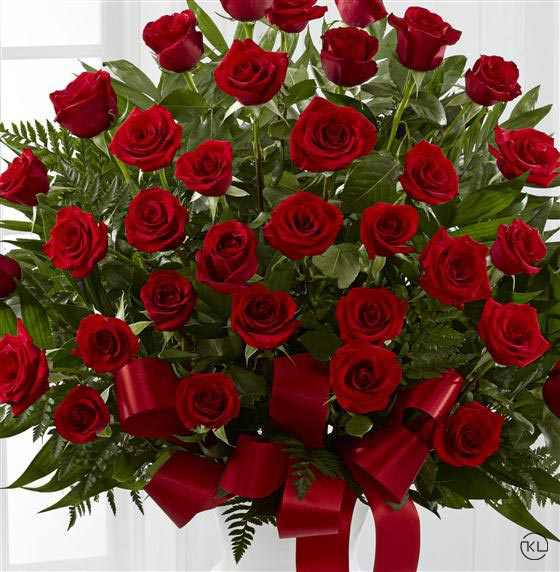 Gorgeous Red Rose Service Arrangement Funeral Flowers London