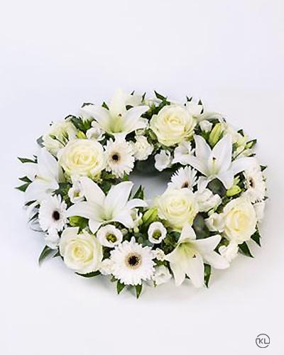 Rose-Lily-White-Wreath-1-Funeral-Flowers-London