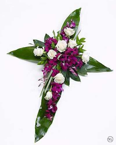 Rose-and-Aspidistra-Cross-1-Funeral-Flowers-London