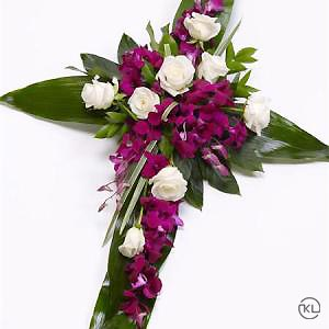 Rose-and-Aspidistra-Cross-2-Funeral-Flowers-London-300x300