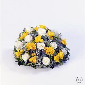 Rose-and-Freesia-Posy-Yellow-and-White-1-Funeral-Flowers-London-300x300