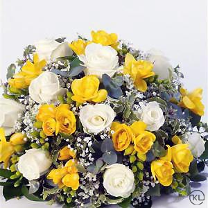 Rose-and-Freesia-Posy-Yellow-and-White-2-Funeral-Flowers-London-300x300