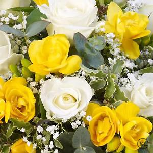 Rose-and-Freesia-Posy-Yellow-and-White-3-Funeral-Flowers-London-300x300