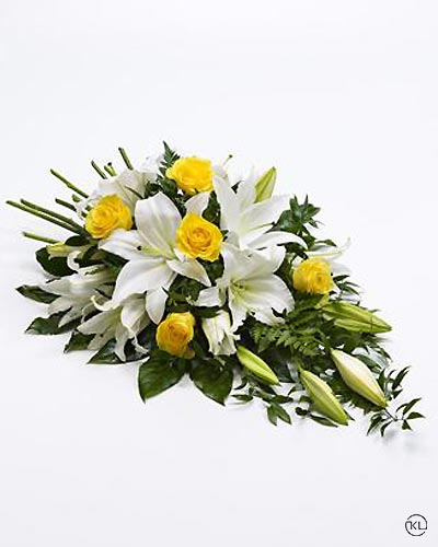 Rose-and-Lily-Spray-Yellow-and-White-1-Funeral-Flowers-London