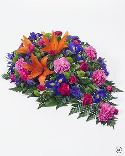 Vibrant-Lily-and-Iris-Teardrop-Spray-1-Funeral-Flowers-London
