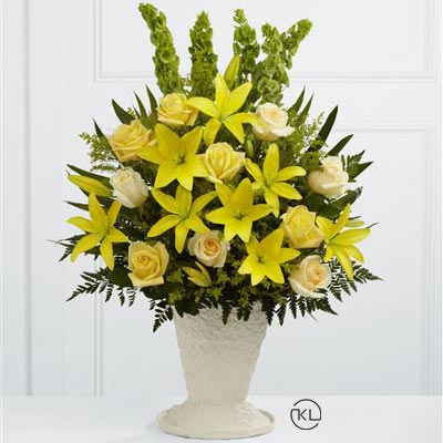Yellow-Lily-and-Rose-Service-Arrangement-1-Funeral-Flowers-London2