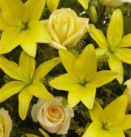 Yellow-Lily-and-Rose-Service-Arrangement-3-Funeral-Flowers-London
