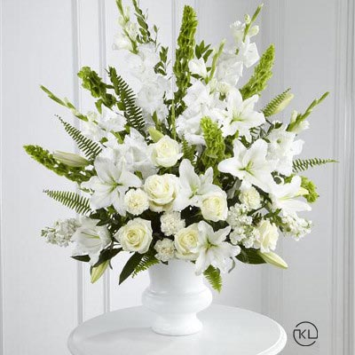 White-and-Green-Service-Arrangement-1-Funeral-Flowers-London1