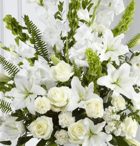 White-and-Green-Service-Arrangement-2-Funeral-Flowers-London