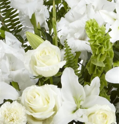 White-and-Green-Service-Arrangement-3-Funeral-Flowers-London