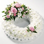 Classic Pink Rose and Chrysanthemum Wreath by Funeral Flowers London