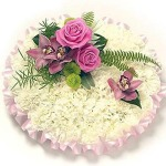 White and cool pink posy by Funeral Flowers London